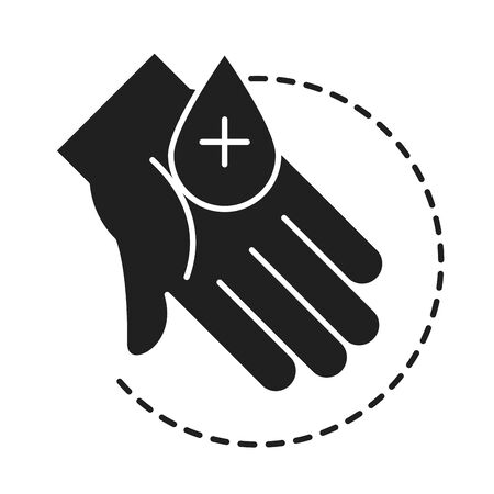 cleaning disinfection, hand with water drop, coronavirus prevention sanitizer products silhouette style icon vector illustration 일러스트