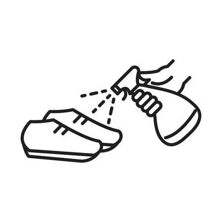cleaning disinfection, spray alcohol in shoes, coronavirus prevention sanitizer products line style icon vector illustration