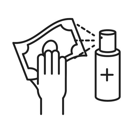 clean disinfection, alcohol spray cleaning money, disinfecting products, protection coronavirus disease line style icon vector illustration