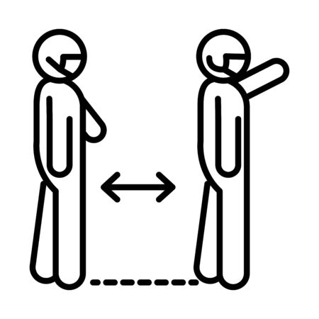 covid 19 preventing coronavirus social distancing, keep distance away in public, outbreak spread vector illustration line style icon