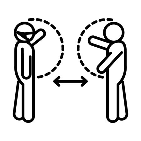 covid 19 coronavirus social distancing prevention, people avoid contact, outbreak spread vector illustration line style icon Illustration