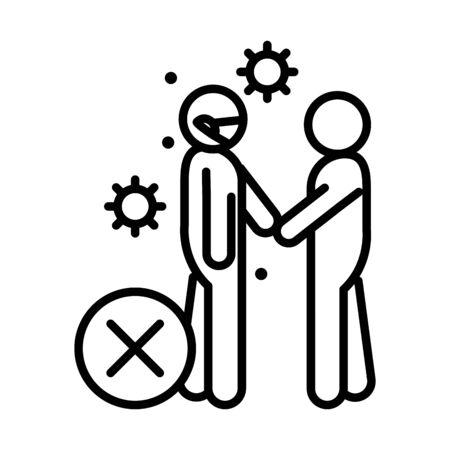 covid 19 coronavirus social distancing prevention, avoid handshake, outbreak spreading vector illustration line style icon