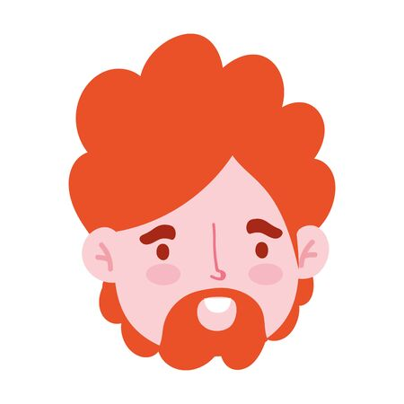 male face beard character portrait man isoated design icon vector illustration Illustration