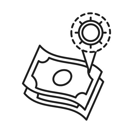 cleaning disinfection, infected money, coronavirus prevention sanitizer products line style icon vector illustration Illustration