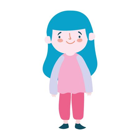 cute little girl cartoon character isolated design icon vector illustration Vettoriali