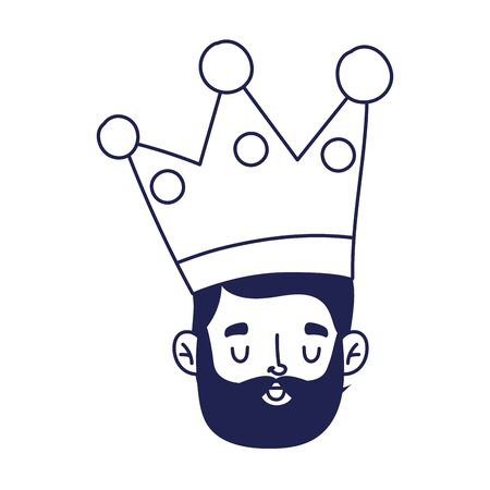 fathers day, face man with crown character celebration isolated icon vector illustration