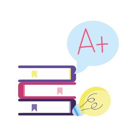 online education books stacked score high school idea cartoon vector illustration