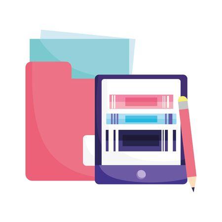 online education smartphone books folder file and pencil vector illustration 矢量图像
