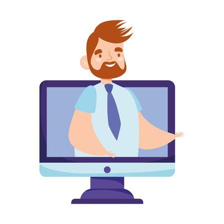 online education teacher computer website video teaching lesson vector illustration