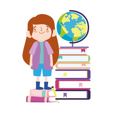 online education student girl standing on stack of books and school globe vector illustration 矢量图像