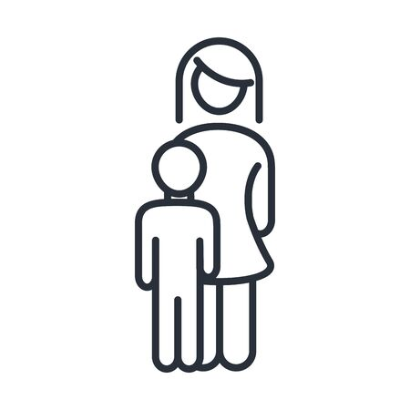 mother and little son feelings family day, icon in outline style vector illustration