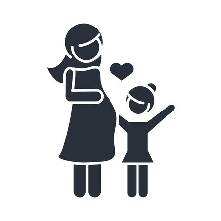 pregnant woman and daughter character family day, icon in silhouette style vector illustration Vettoriali