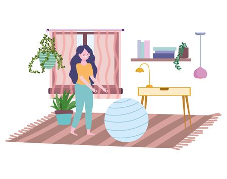 stay at home, young woman with fitness ball in the room, self isolation, activities in quarantine for coronavirus vector illustration