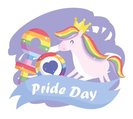 lgtbi horse cartoon with heart seal stamp and female gender design, Pride day sexual orientation and identity theme Vector illustration Vectores