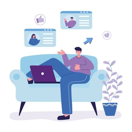 young man character with laptop chatting sitting on sofa vector illustration Vetores