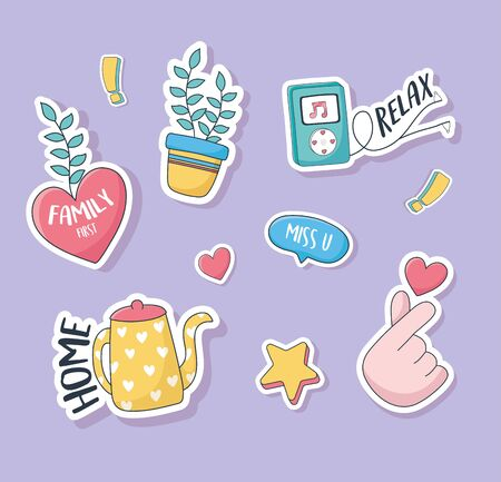 cute heart hand love plant kettle music stuff for cards stickers or patches decoration cartoon vector illustration Çizim