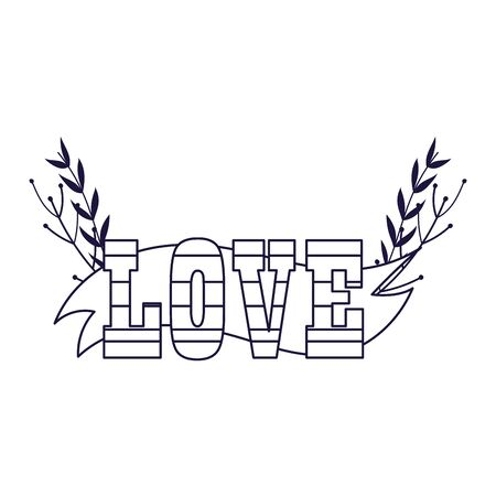 Striped love text with leaves design of Passion romantic valentines day wedding decoration and marriage theme Vector illustration