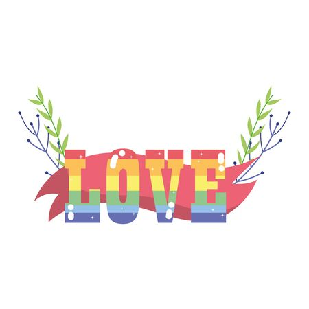 lgbt love text with leaves design, Pride day sexual orientation and identity theme Vector illustration