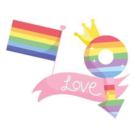 lgbt flag male gender with crown and love ribbon design, Pride day sexual orientation and identity theme Vector illustration Vectores