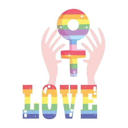 lgtbi love text and hands with female gender design, Pride day sexual orientation and identity theme Vector illustration Vectores