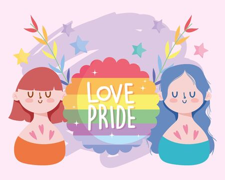 Girls cartoons with lgbt seal stamp and leaves design, Pride day sexual orientation and identity theme Vector illustration Vectores