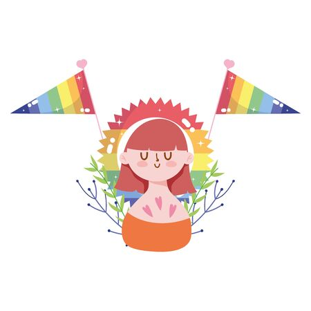 girl cartoon with lgbt flags design, Pride day sexual orientation and identity theme Vector illustration