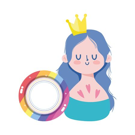 girl cartoon with lgtbi seal stamp design, Pride day sexual orientation and identity theme Vector illustration