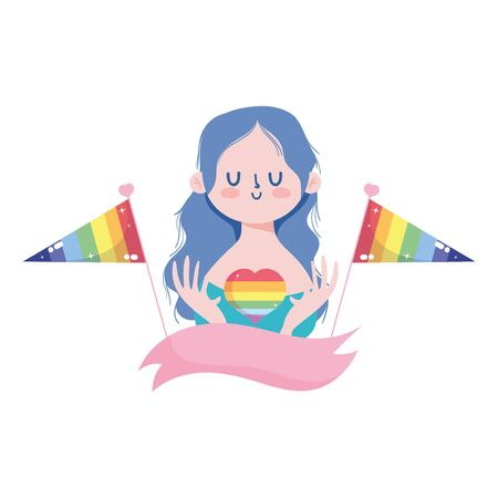 girl cartoon with lgtbi heart and flags design, Pride day sexual orientation and identity theme Vector illustration