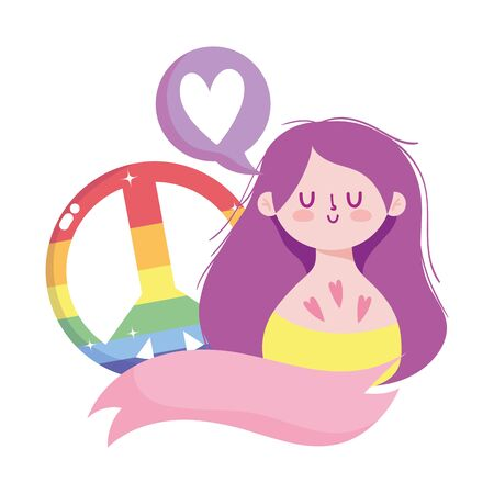 girl cartoon with lgtbi love and peace design, Pride day sexual orientation and identity theme Vector illustration