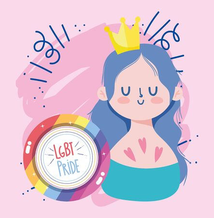 Girl cartoon with crown and lgtbi seal stamp design, Pride day sexual orientation and identity theme Vector illustration Vectores