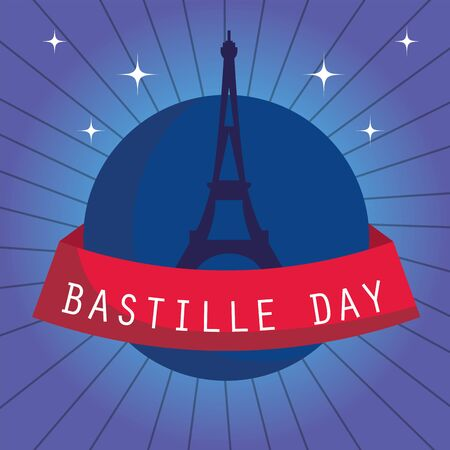 france eiffel tower with ribbon design, Happy bastille day and french theme Vector illustration