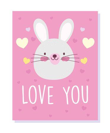 little rabbit face love hearts cartoon cute animals characters vector illustration Çizim