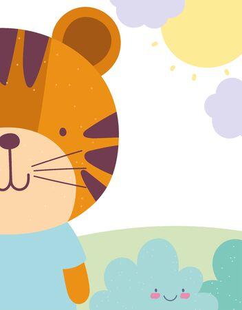 tiger landscape clouds sun cartoon cute animal character vector illustration