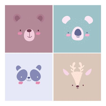 cartoon cute animals characters faces collection design vector illustration Çizim