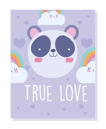 panda face rainbow clouds cartoon cute animal character vector illustration Çizim
