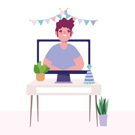 online party, birthday or meeting friends, computer man on screen celebration hat pennants decoration vector illustration