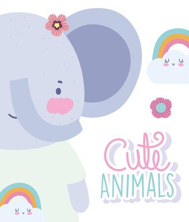 elephant rainbows cartoon cute animal characters flowers nature design vector illustration Çizim
