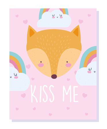 fox head rainbows and clouds cartoon cute animal character vector illustration