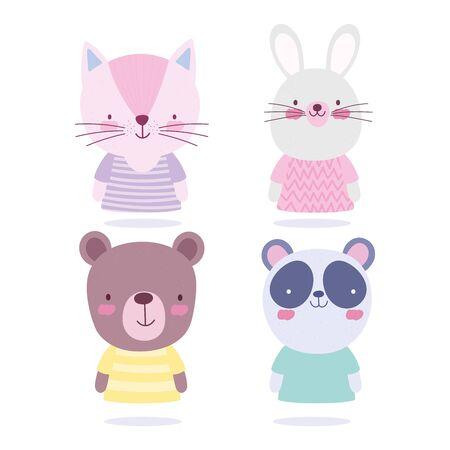 cartoon cute animals characters cat rabbit bear and panda vector illustration
