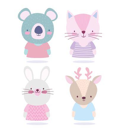 cartoon cute animals characters koala cat rabbit and deer vector illustration Çizim
