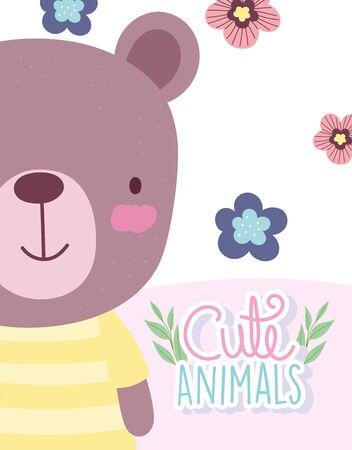 teddy bear flowers cartoon cute animal characters nature design vector illustration Çizim