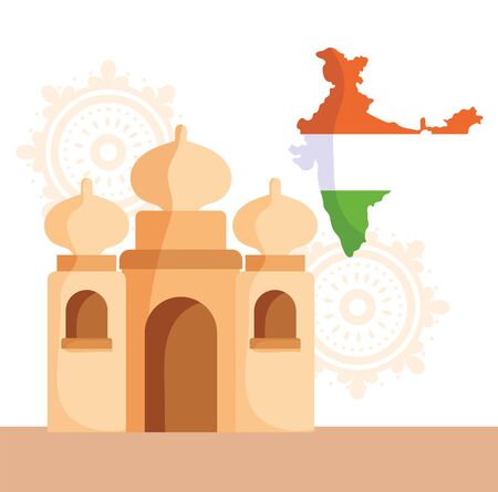 happy independence day india, taj mahal flag in map and mandala background vector illustration