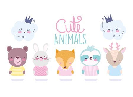cartoon cute animals characters bear rabbit fox raccoon deer and clouds vector illustration Çizim