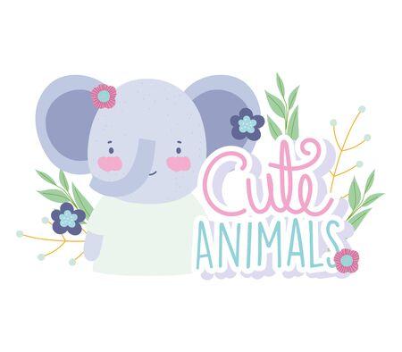 face elephant flowers foliage cartoon cute animal characters nature design vector illustration