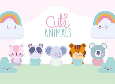 cartoon cute animals characters rainbow clouds landscape design vector illustration Çizim
