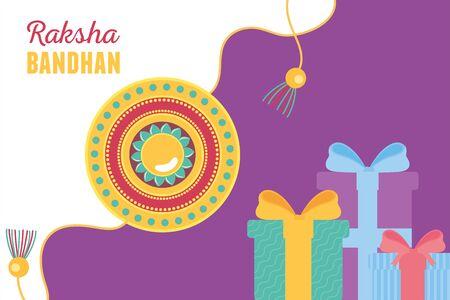 raksha bandhan, traditional bracelet brothers and sisters indian celebration gift boxes vector illustration