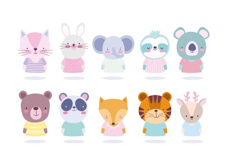 cartoon cute animals different characters portrait icons vector illustration vector illustration