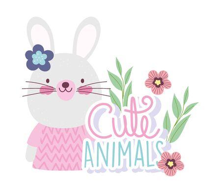 female rabbit cartoon cute animal characters flowers nature design vector illustration