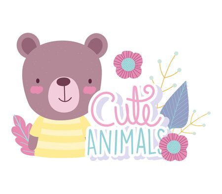 bear cartoon cute animal characters flowers nature design vector illustration