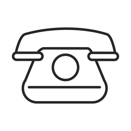 vintage telephone communicate conversation line style icon vector illustration